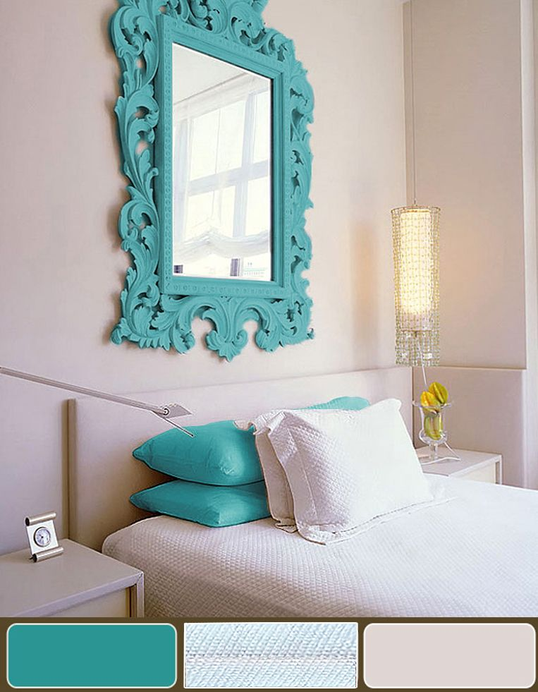turquoise bedroom   art  decorating ideas wall paint