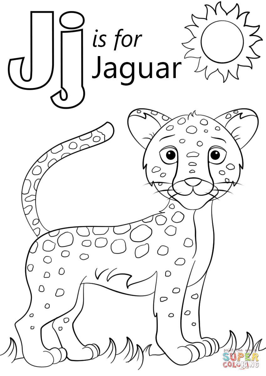 Letter J Is For Jaguar Super Coloring Abc Coloring Pages Preschool Coloring Pages Cartoon Jaguar
