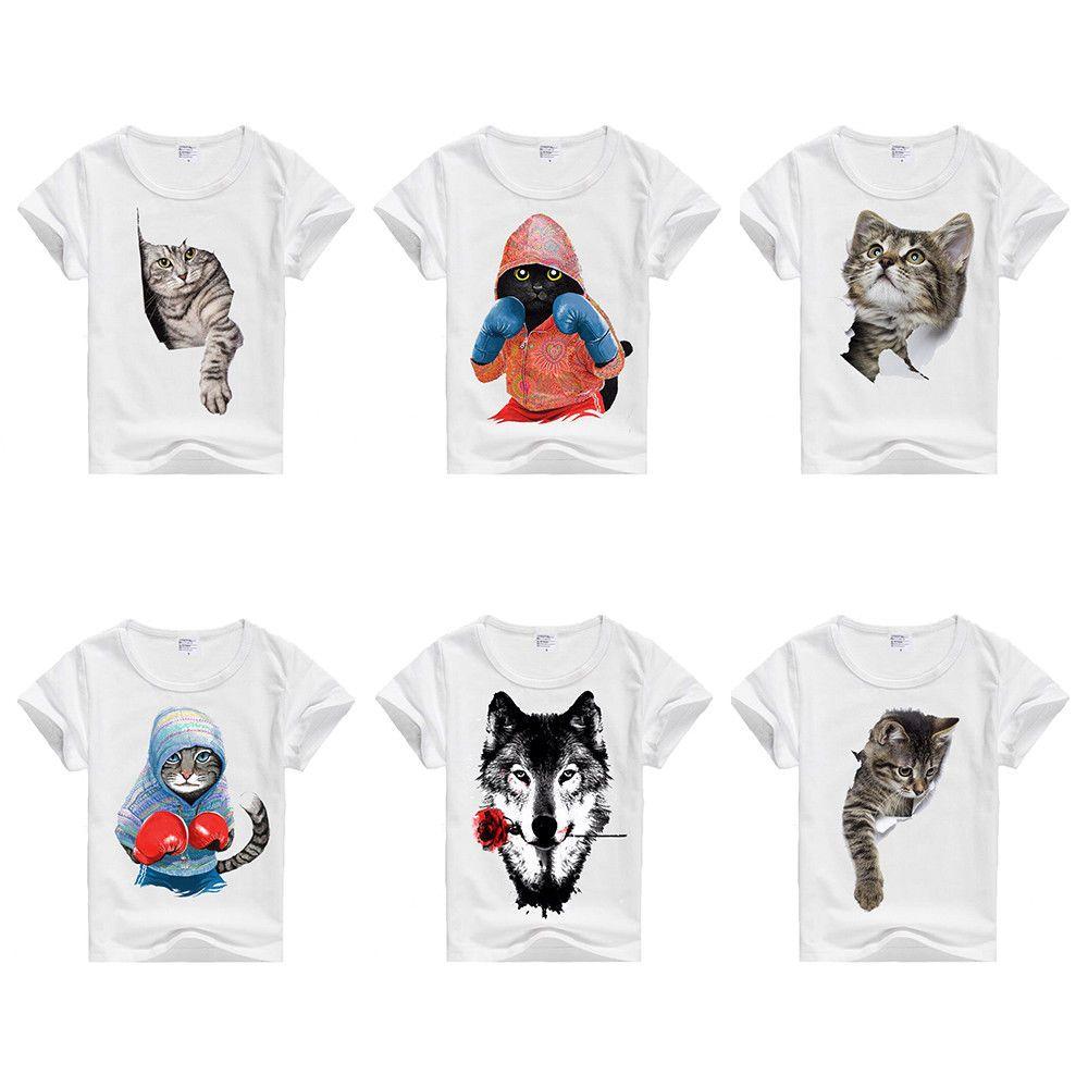 Kids T-shirt Boys Animal Cat Wolf 3D Print Graphic Tee Shirt White Children Tops