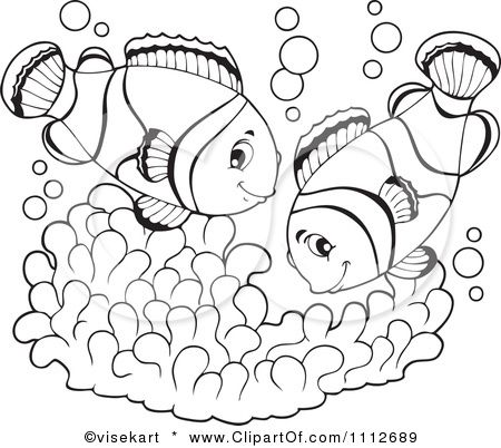 Clipart Outlined Clownfish Pair Over Soft Corals Royalty Free Vector Illustration By Viseka Fish Cartoon Drawing Free Vector Illustration Embroidery Template