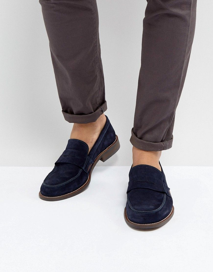 Dune Penny Loafers In Navy Suede - Blue