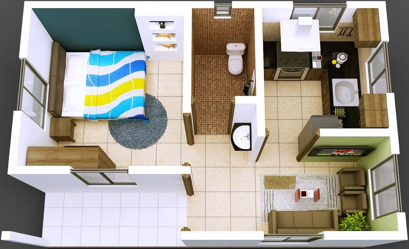 Plano de departamento de 1 dormitorio en 40 metros for Planos de cocinas de 9 metros cuadrados