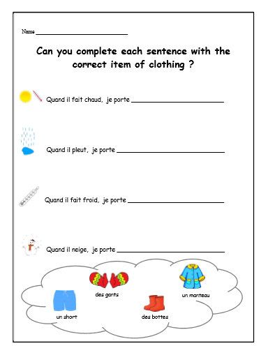 french weather clothing worksheet activity sheets for kids and children learning french school. Black Bedroom Furniture Sets. Home Design Ideas