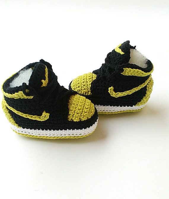 Crochet baby Air Jordan Jordan baby shoes Crochet slippers  9e1295043