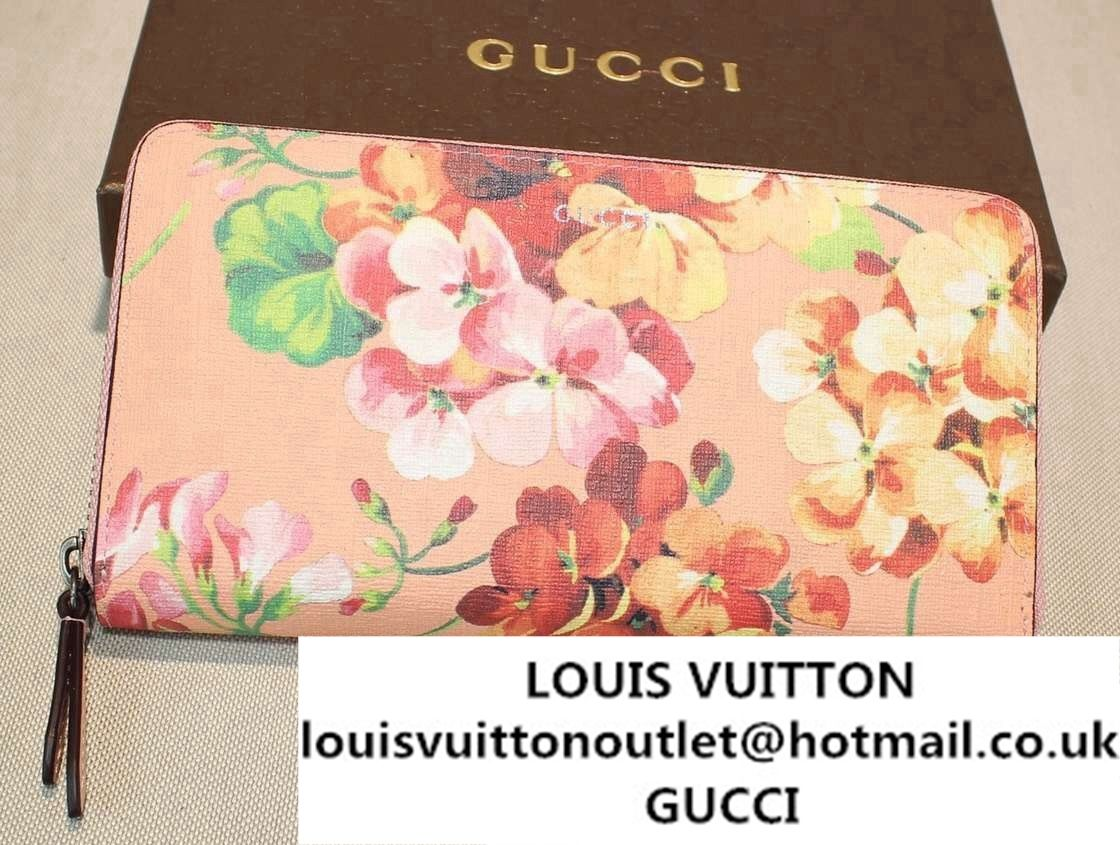 45813737bab Gucci Blooms Print Leather Zip Around Wallet 410102 Pink 2016 ...