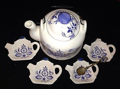 Bombay And Company Tea Bag Holder Strainer Blue And White
