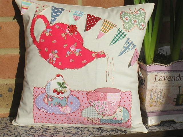 "Applique Fabric Cushion Kit Teapot Bunting Cupcakes 12"" ideal Mothers Day gift"