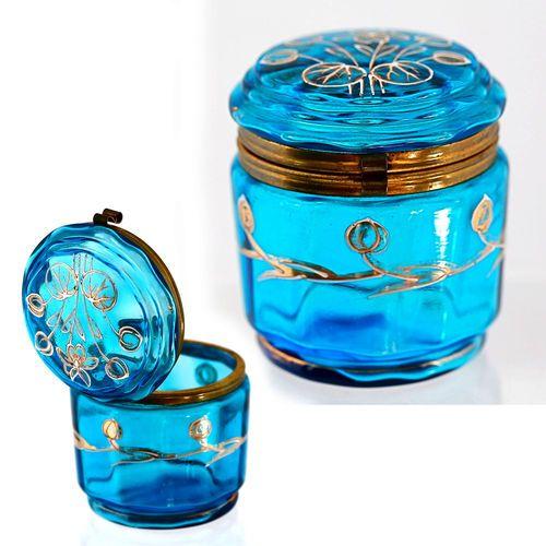 Antique Victorian Era Bohemian Blue Enameled Art Glass Hinged Jewelry Box Jar | eBay