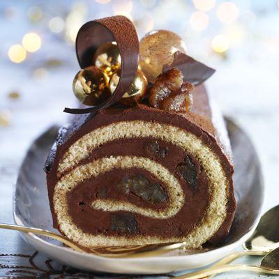 Bûche chocolat et marrons glacés