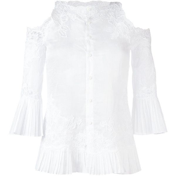 Ermanno Scervino Lace Insert Cold-shoulder Blouse (2150 PAB) ❤ liked on Polyvore featuring tops, blouses, cut out shoulder top, white cut out shoulder top, ermanno scervino, white tops and cut shoulder tops