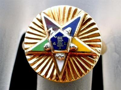 10K Gold Eastern Star Ring Size 5 5 Vintage Order of Enamel Yellow Estate | eBay