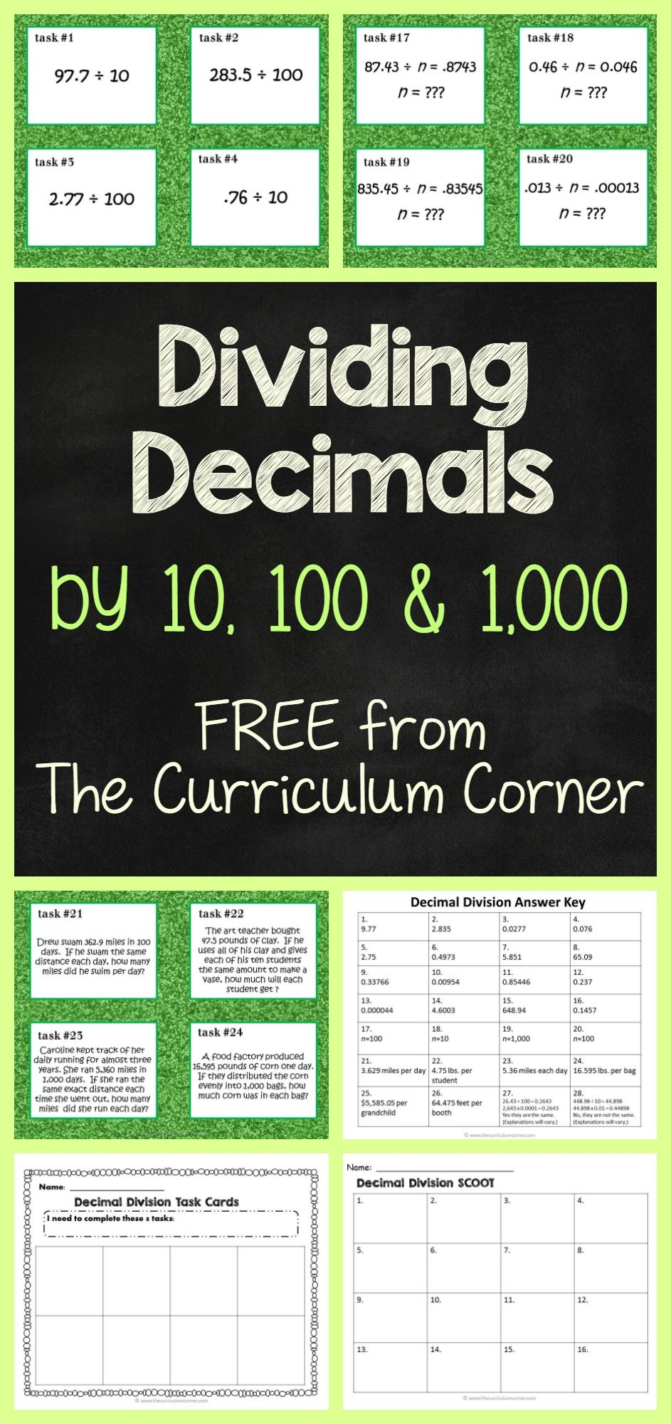 Dividing Decimals by 10, 100 or 1,000 | Pinterest | Multiplikation