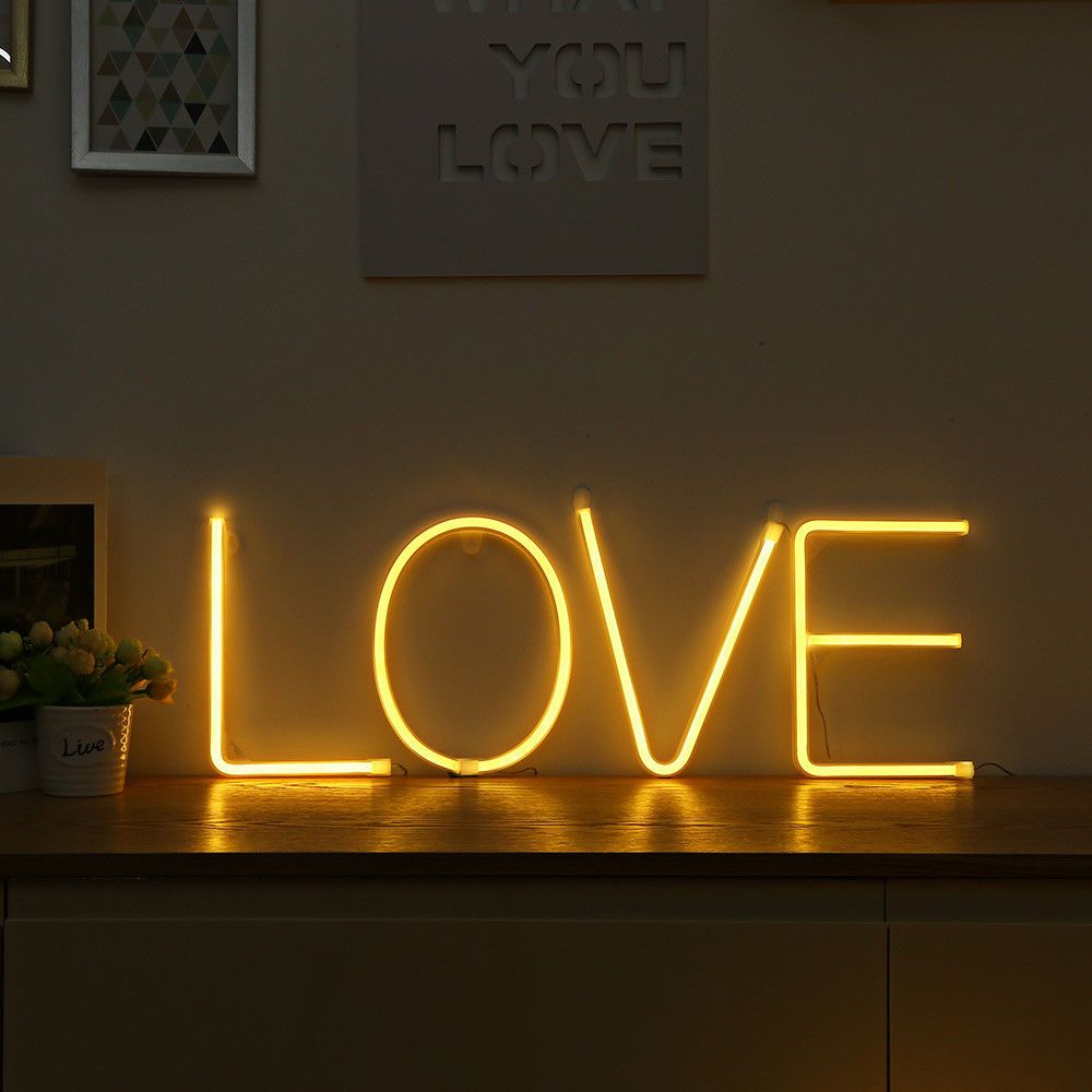 Details about LED Neon Sign 26 Letters Light Love Marry Me