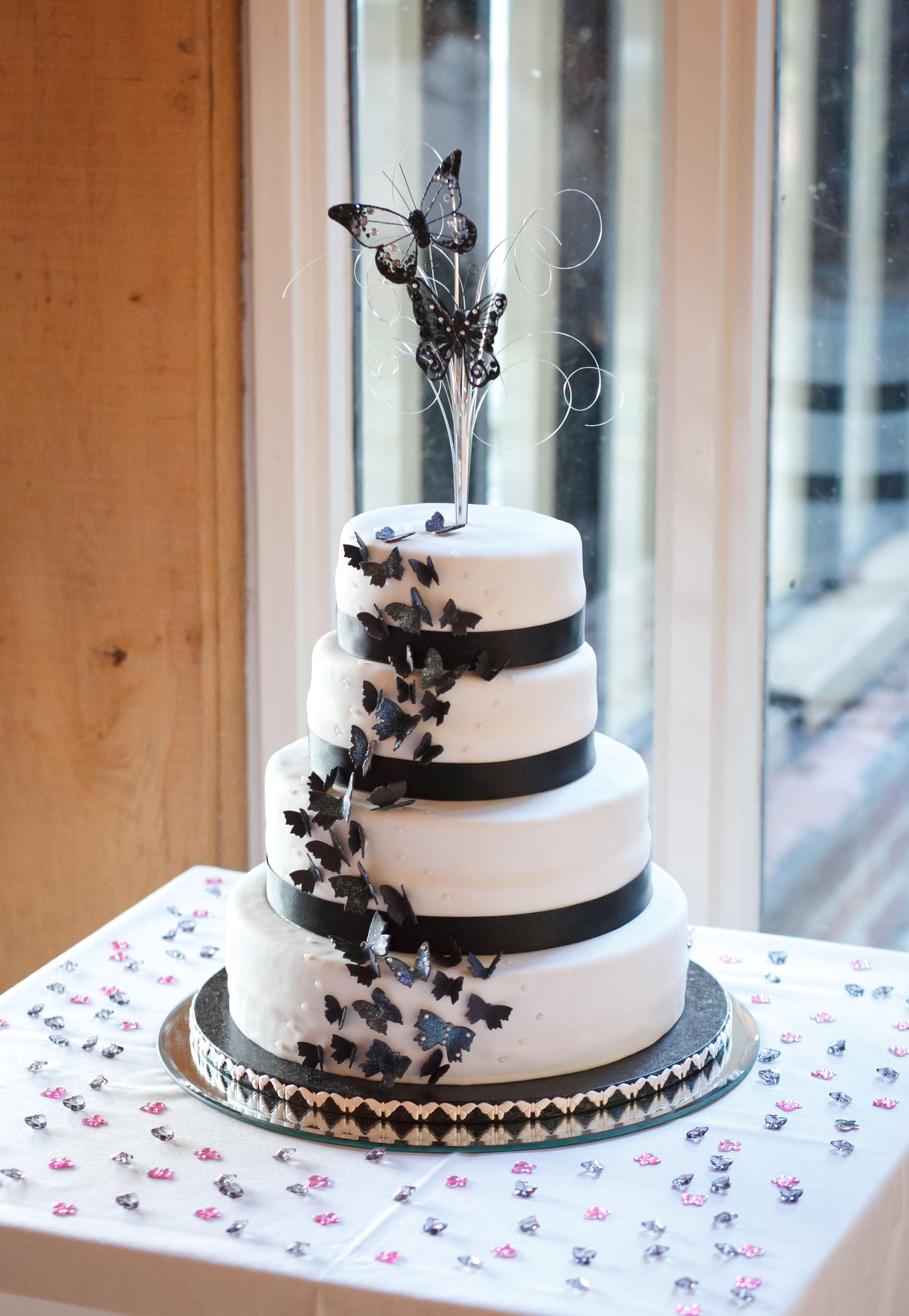 black and white butterfly wedding cake wedding pinterest