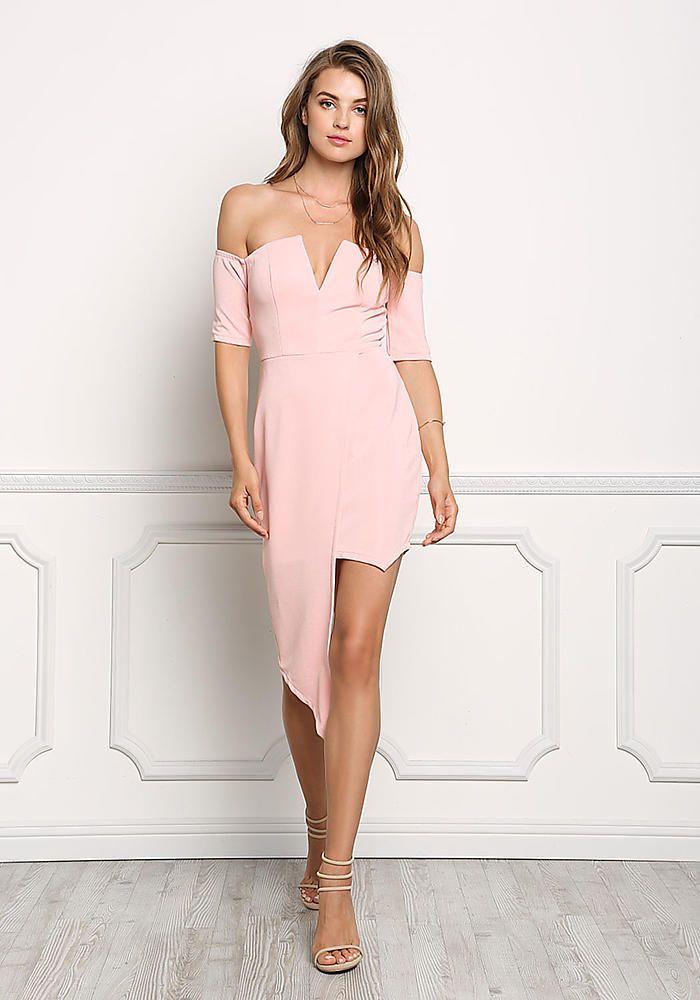Blush Off Shoulder Asymmetrical Bodycon Dress - Going Out - Dresses ... 0cbb6ca2a