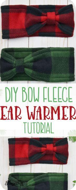 Fleece Ear Warmer Headband DIY Bow Style #sewingcrafts