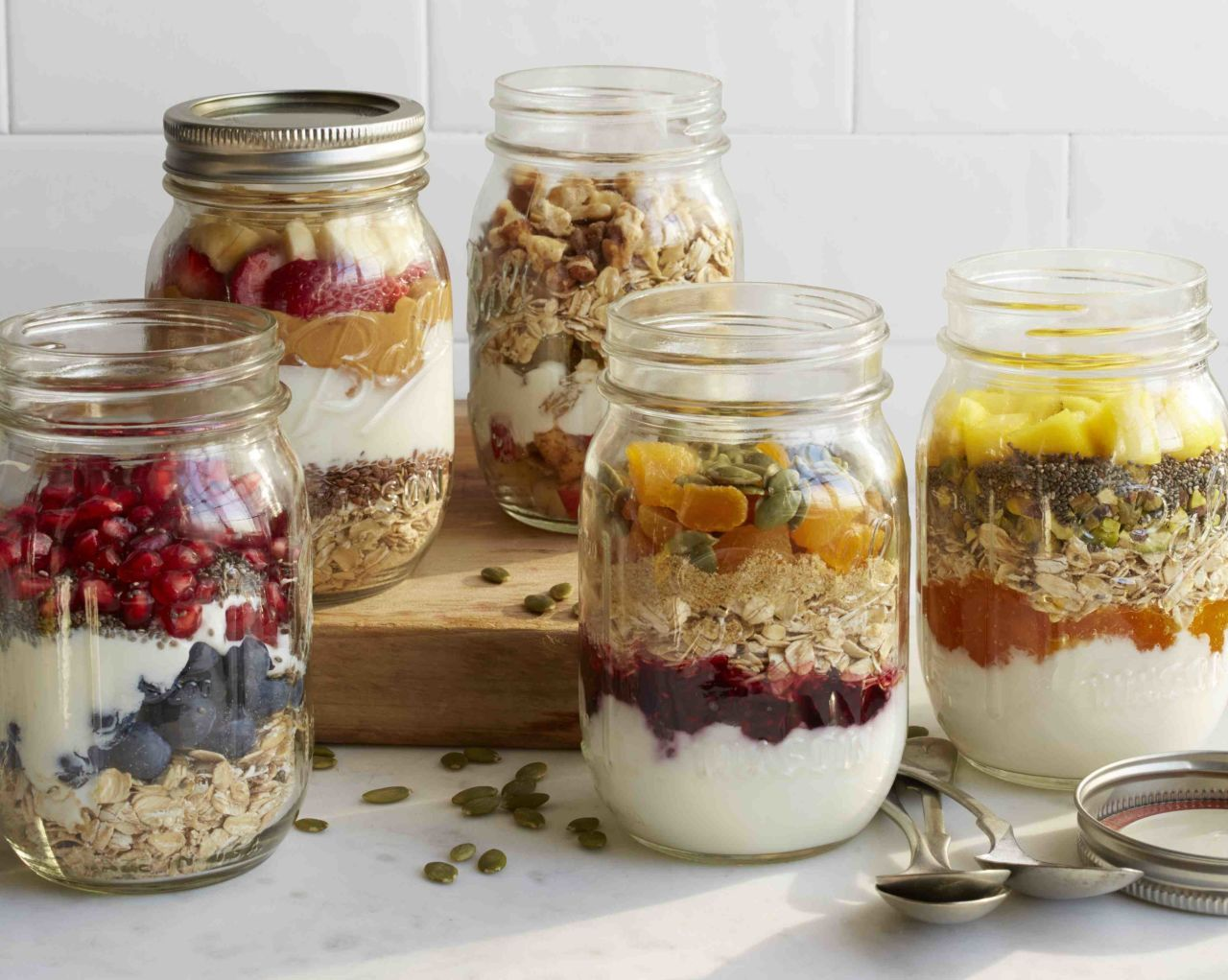 30 second breakfasts that are tastier than cereal pomegranate great make ahead oatmeal fruit and yogurt jars add your favorite liquid ccuart Choice Image