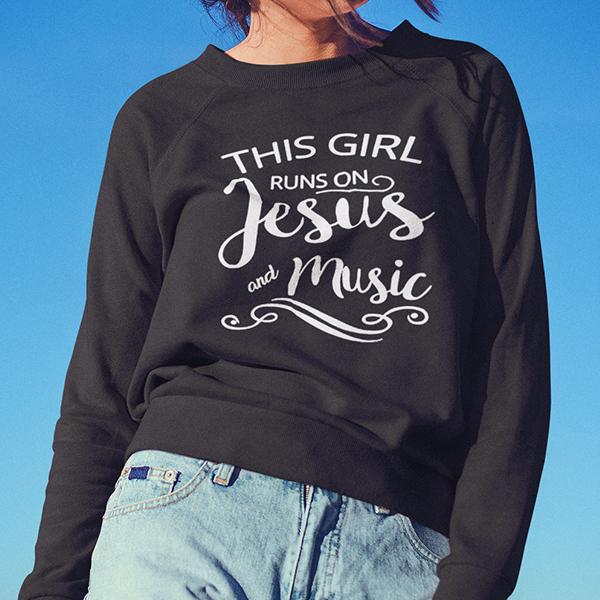 This girl runs on Jesus and music long sleeve t-shirt | Christian apparel