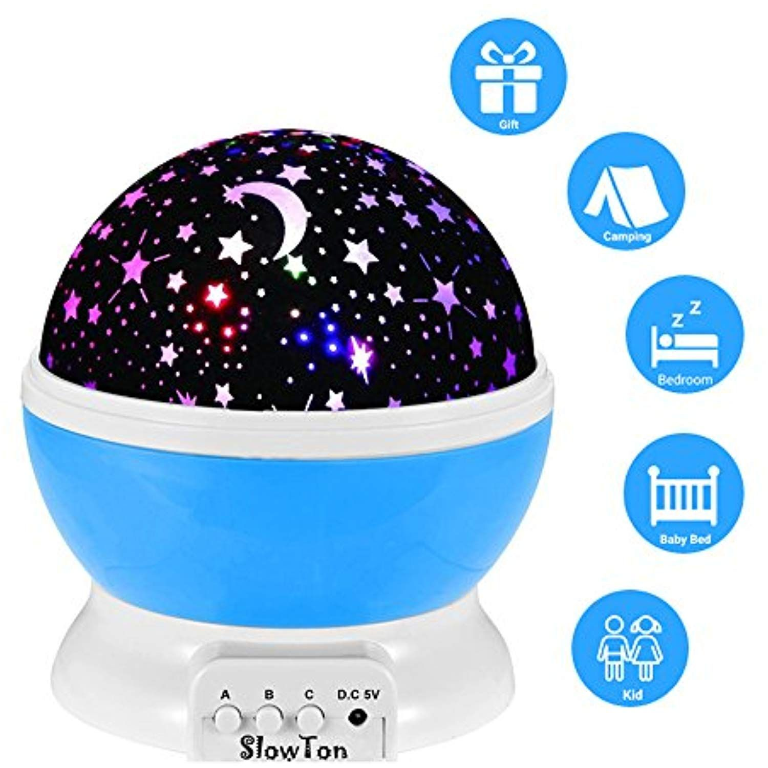 Slowton Star Night Light Projector For Kids Starry Lighting Lamp Rotating Bedside Rest Light Baby Sleep Soothers Colorful Led Moon Star For Bab Star Night Light