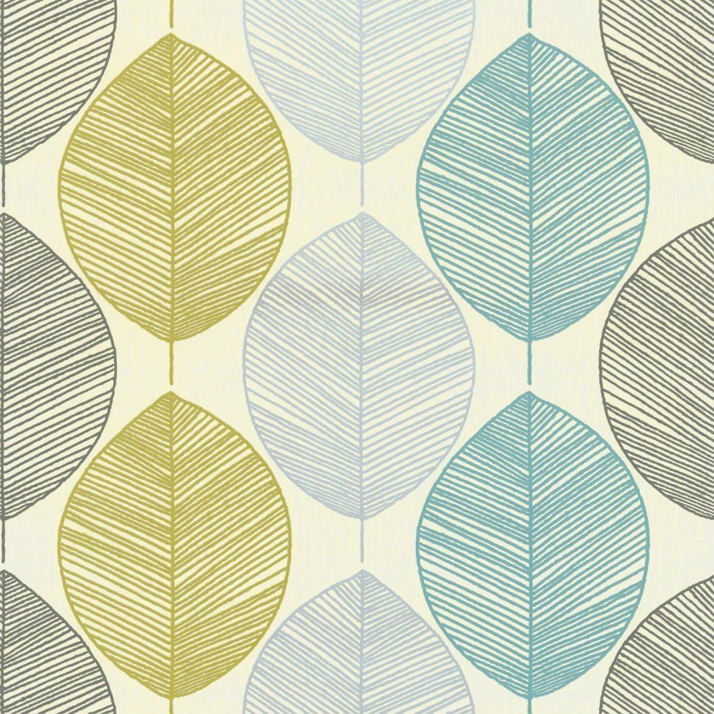 Teal lime green 408207 retro leaf motif arthouse for Lime green kitchen wallpaper