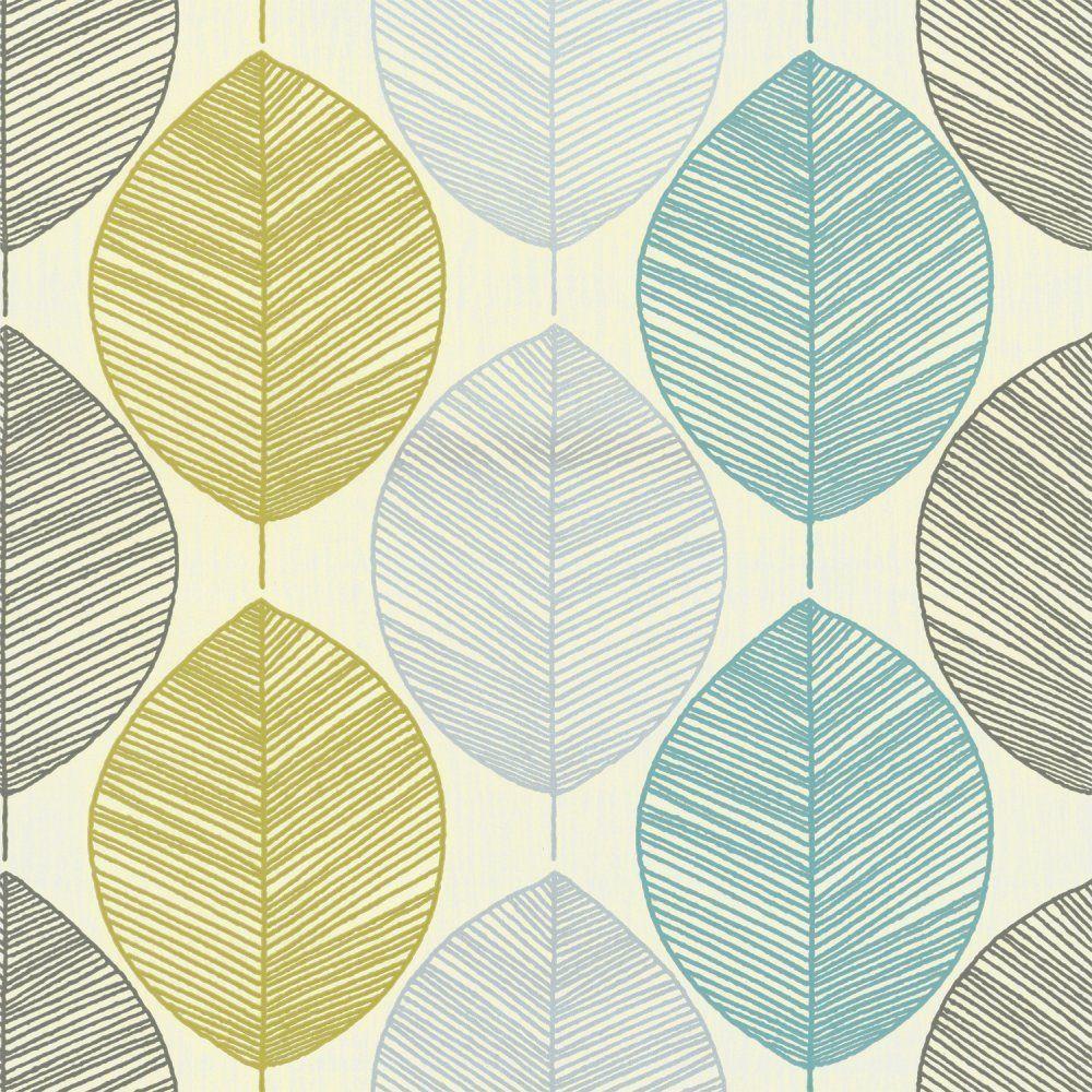 Teal / Lime Green 408207 Retro Leaf Motif Arthouse