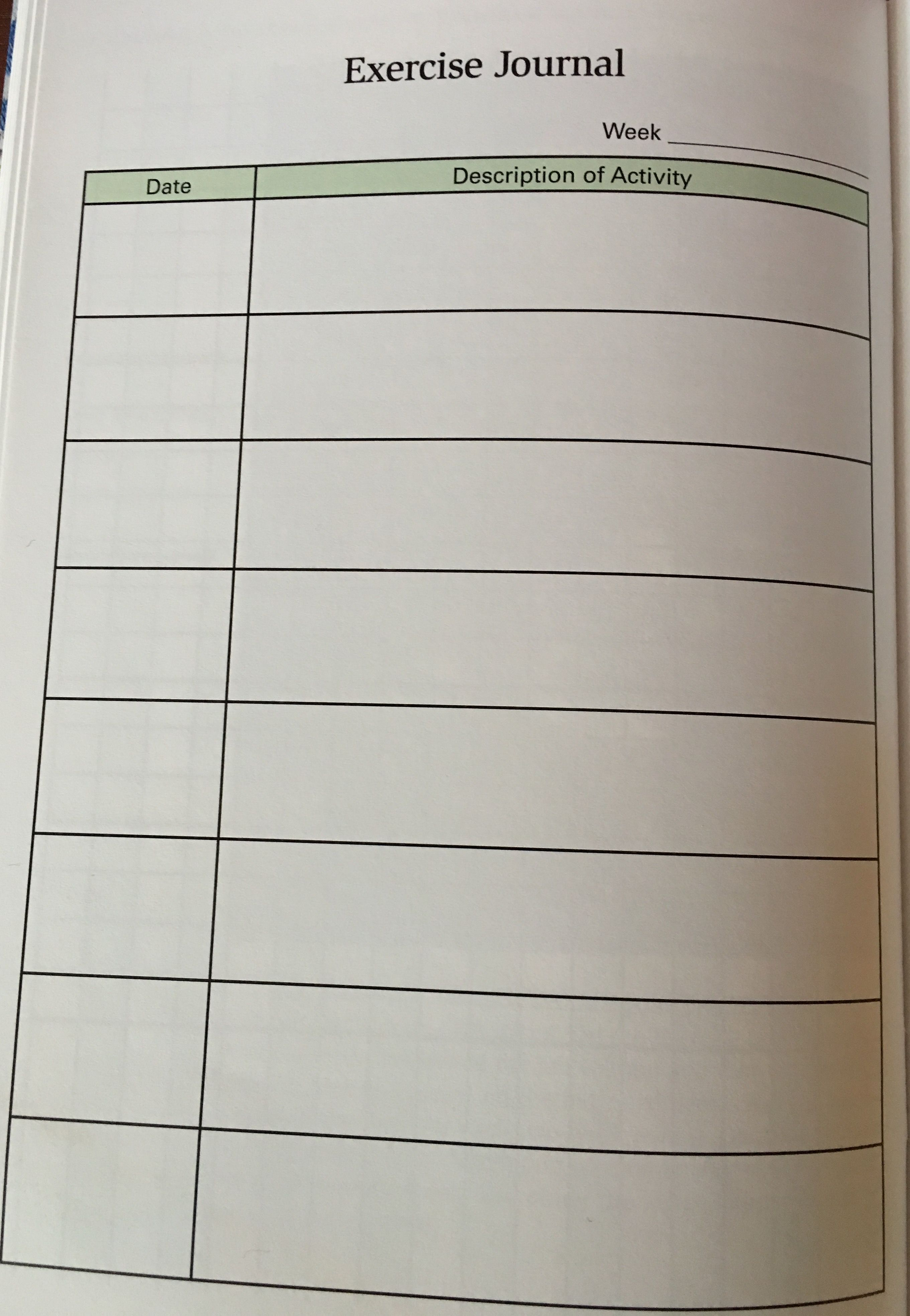 Personal Fitness Exercise Journal