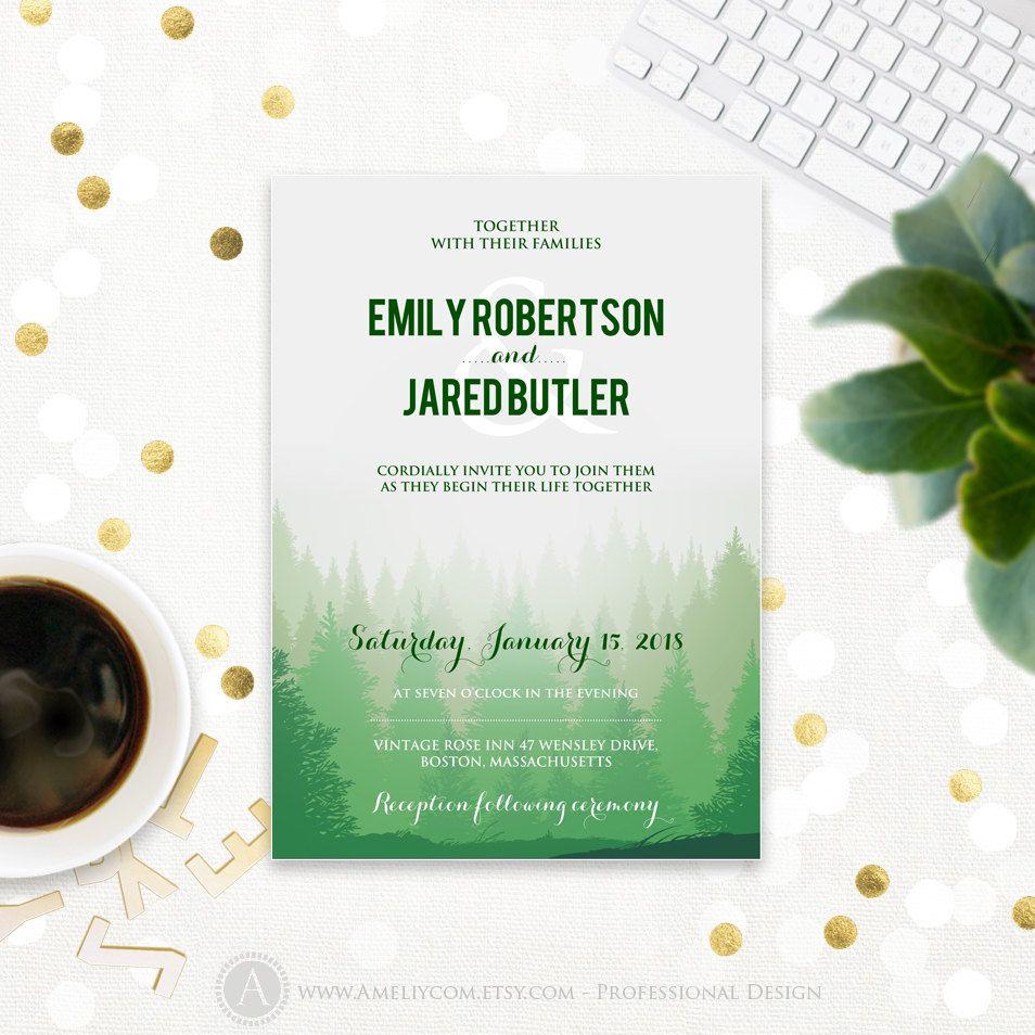 Forest Wedding Invitation Printable Green Pine Trees Wedding - Garden wedding invitations templates