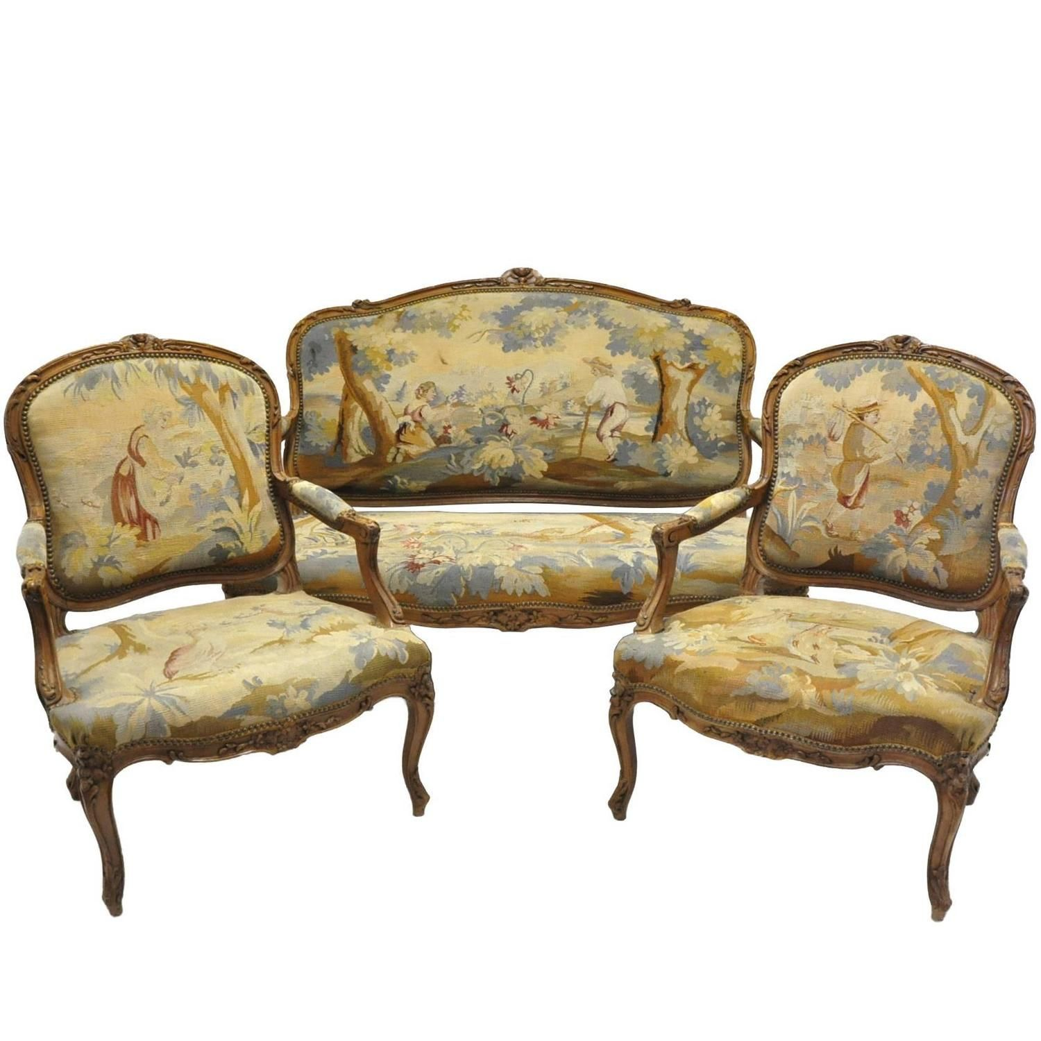 Three-Piece Antique Louis XV Salon Seating Set with Aubusson ...