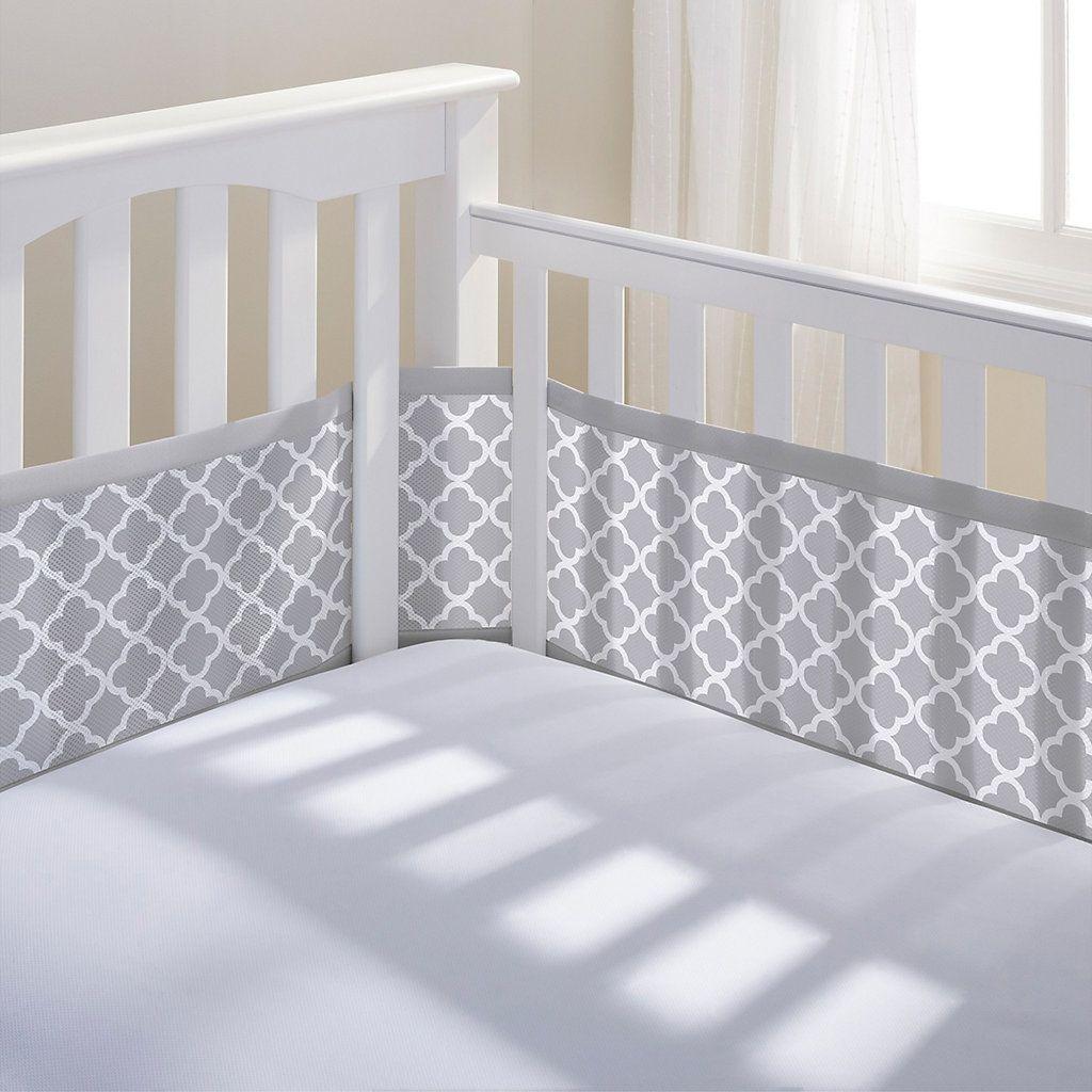 Breathable baby quatrefoil mesh crib liner crib liners