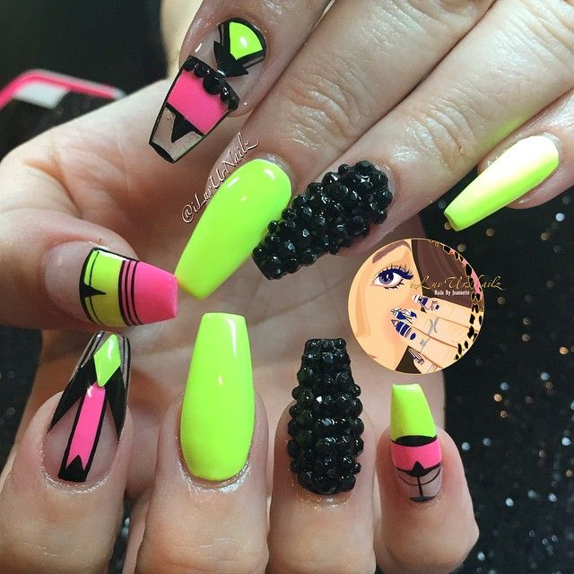 Neon Yellow Mix With Pink Black Neon Nails Trendy Nails Nails