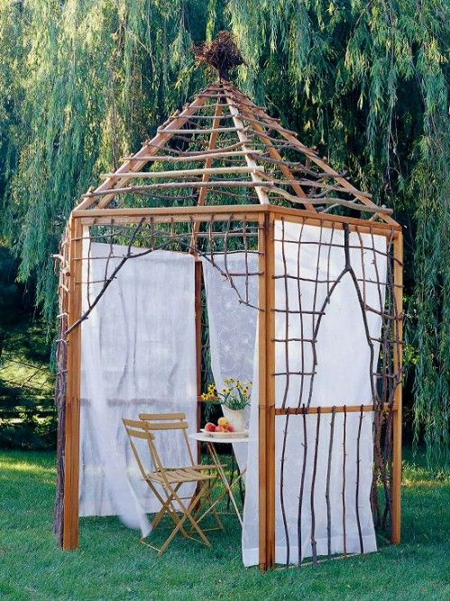 25 Cheap And Easy Diy Home And Garden Projects Using Sticks And Twigs Enclosed Garden Structures Garden Structures Garden Projects