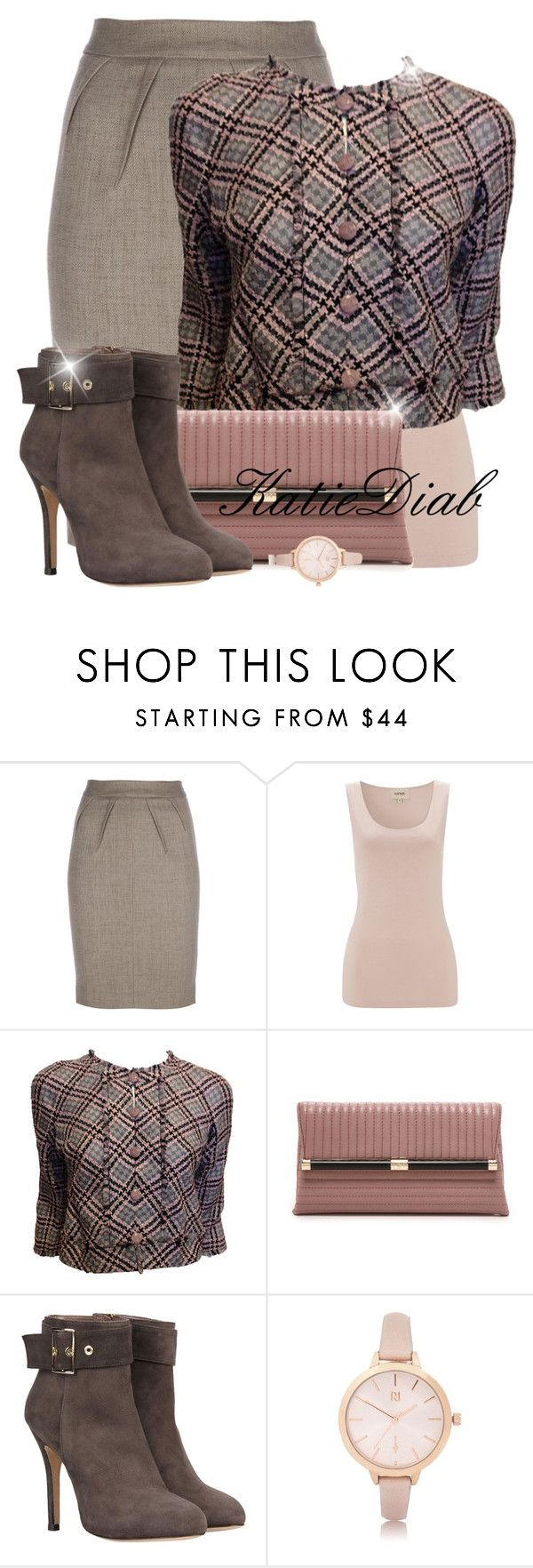 """Pink&Grey"" by katiediab ❤ liked on Polyvore featuring Emporio Armani, Havren, Chanel, Diane Von Furstenberg, 8, River Island, Pink, set and grey"