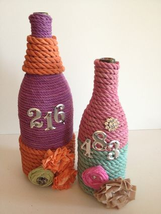 Rit Dye and Hemptique makes a pretty combination on these recycled bottles
