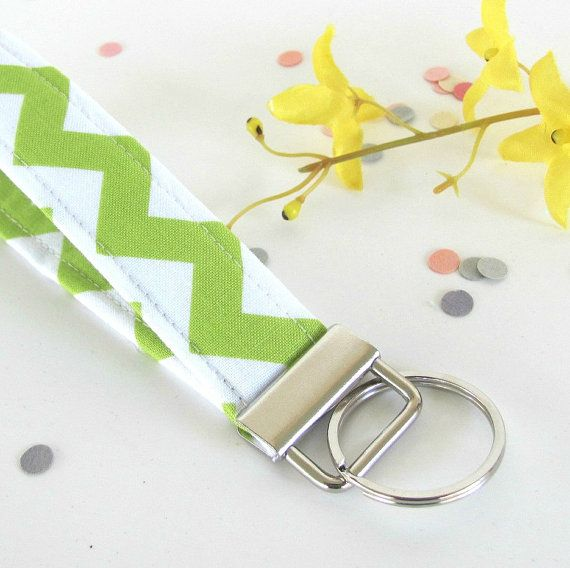 Chevron Fabric Keychain Wristlet Lime Green White by OvationStudio ...