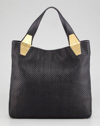 #Tom Ford Natasha Black Woven Calfskin Tote Bag #Trend Black & White Bags