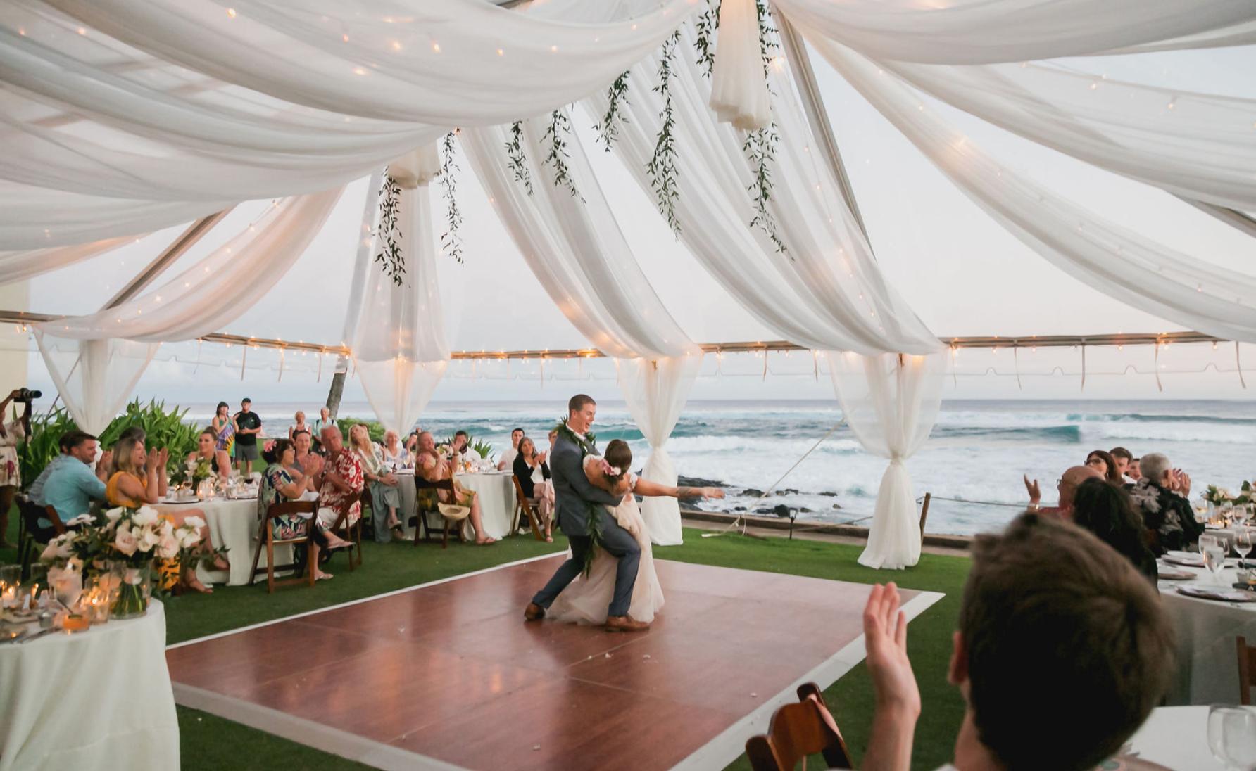 Clear Tent Canopy Luxe Chiffon Hanging Garlands Dance Floor Wedding Wedding Floor Plan Oceanfront Wedding