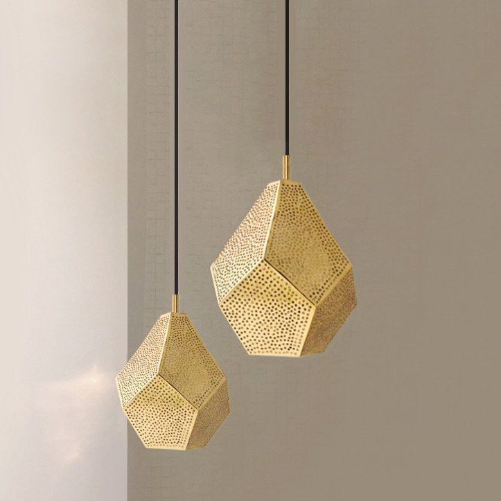 Almas Perforated Brass Geometric Moroccan Pendant Light Fixture Lq