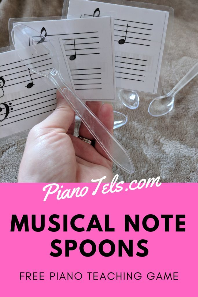 Musical Note Spoons | Free Piano Teaching Game (Digital Print) #musicnotes