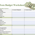 Free Printable Budget Worksheet & Sample Budget for Teens | Noah ...