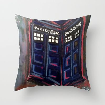 Tardis Throw Pillow at Etsy. Someday soon I will buy this.