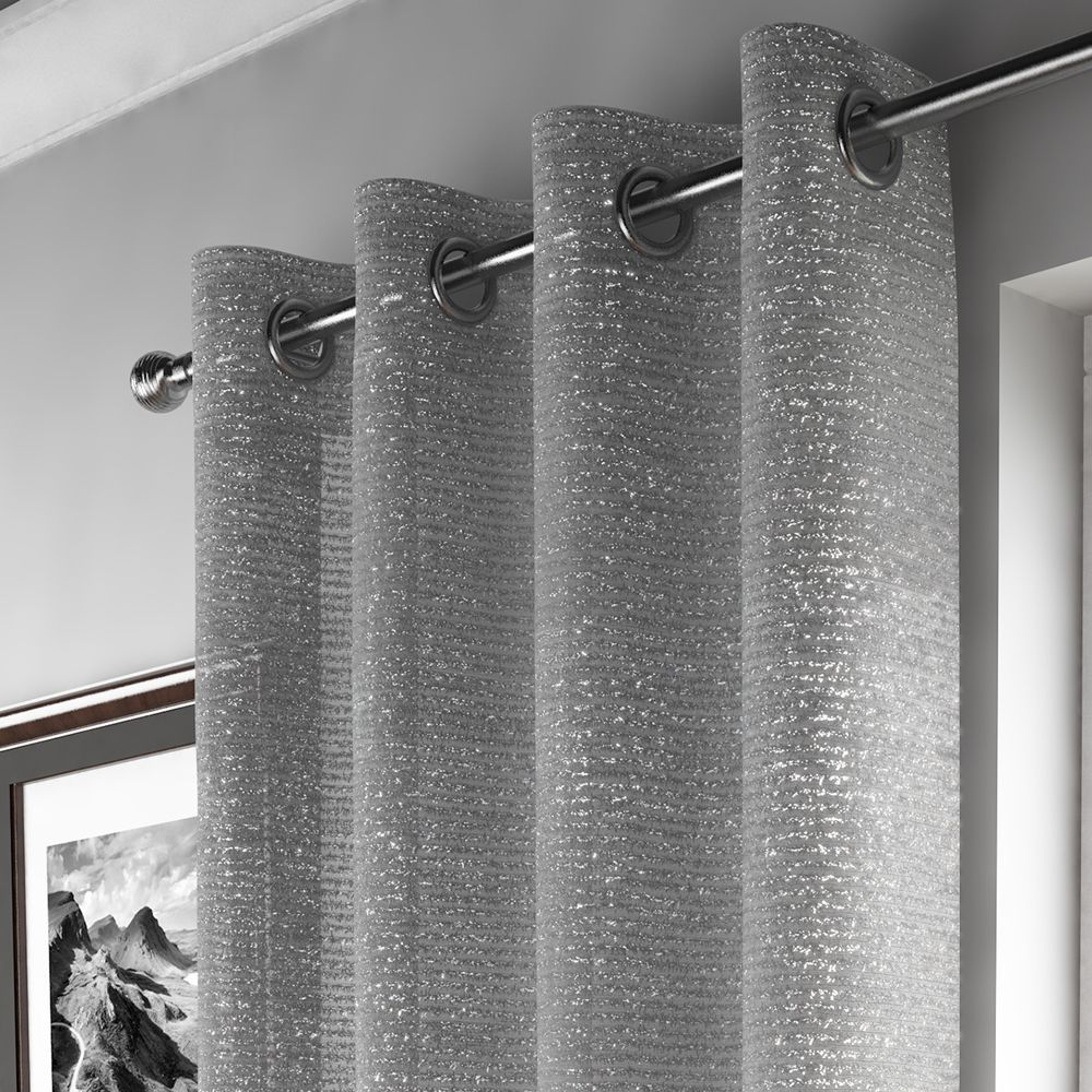 Glitter Sparkle Ring Top Voile Curtain Panel Silver Silver Curtains Glitter Curtains Voile Curtains