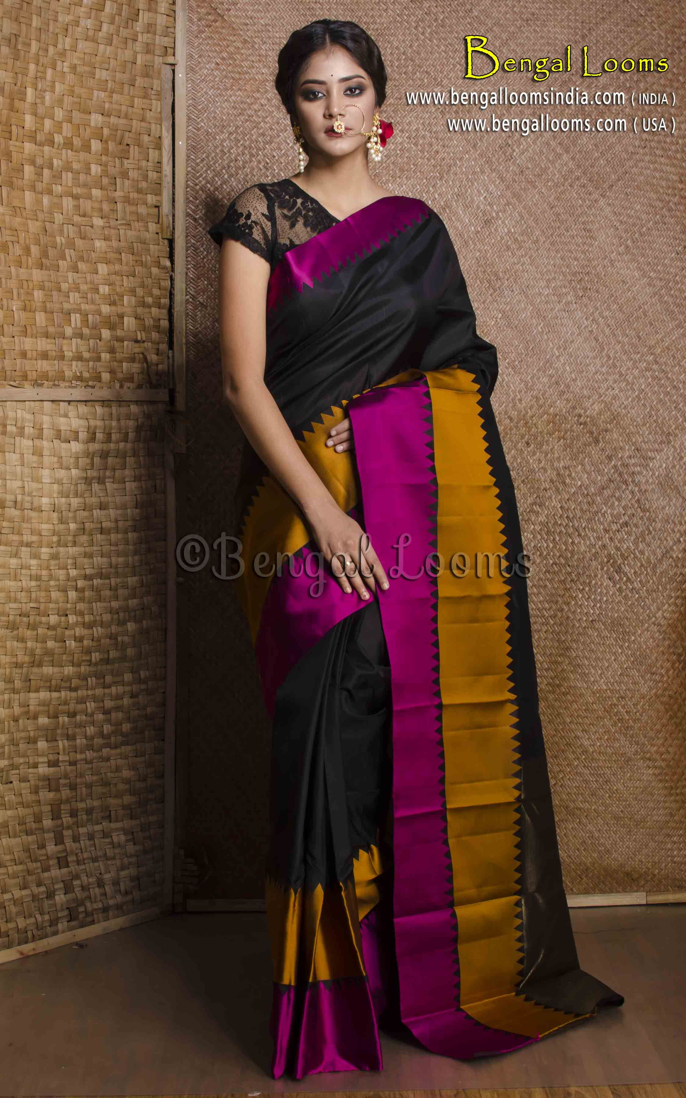 58f1a9e55 Pure Handloom Wide Border Kanjivaram Silk Saree in Black