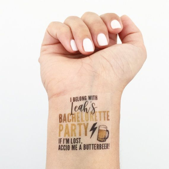 Please Read Instructions Before Ordering Custom Temporary Tattoos Personalized With The Brides Name Perfect For A Wizarding World Of Bachelorette
