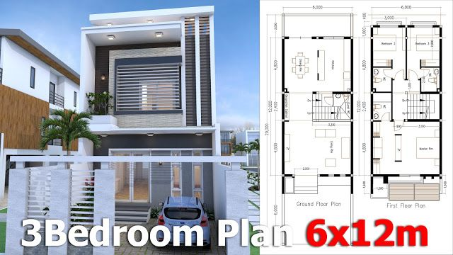SketchUp Modern Home Plan 6x12m With 3 Bedroom.   SaM ArchitecT