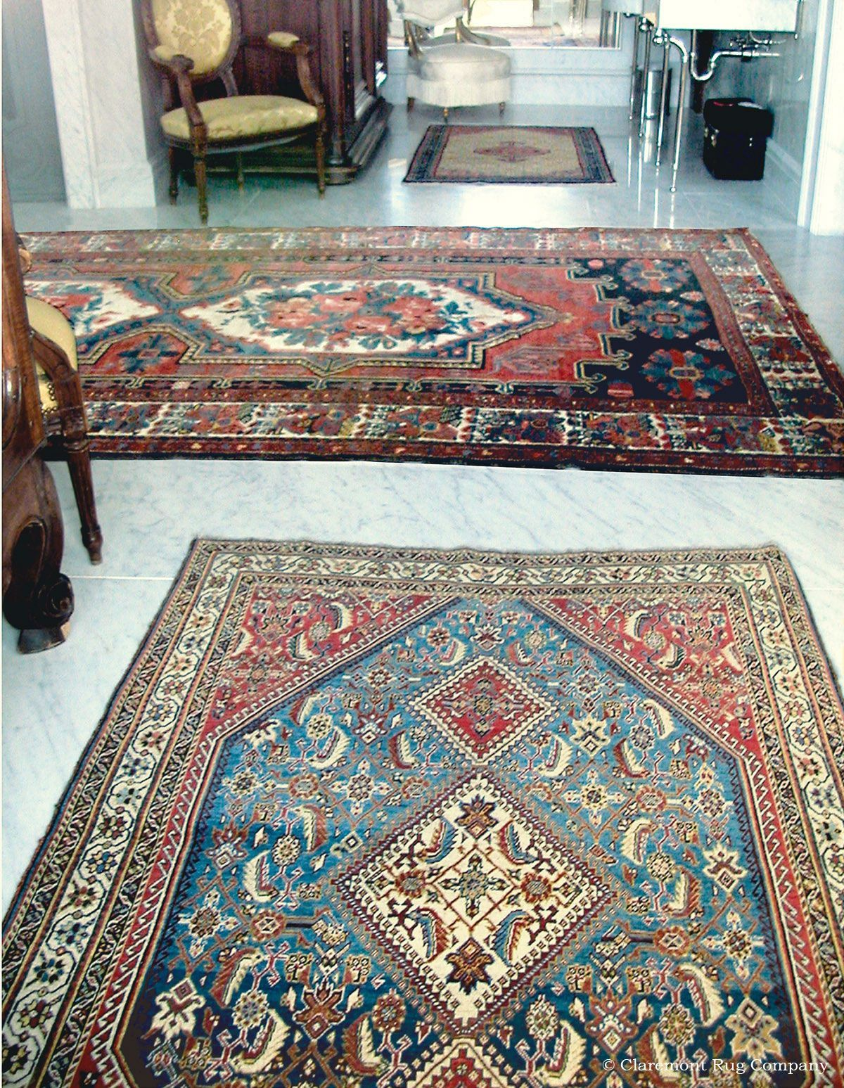 Antique Caucasian Rugs Soften Marble Floors In Grand Master Bath Rugs Rugs On Carpet Simple Carpets