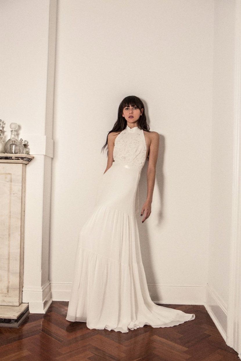 High neck wedding dress from bo u luca see more boho wedding