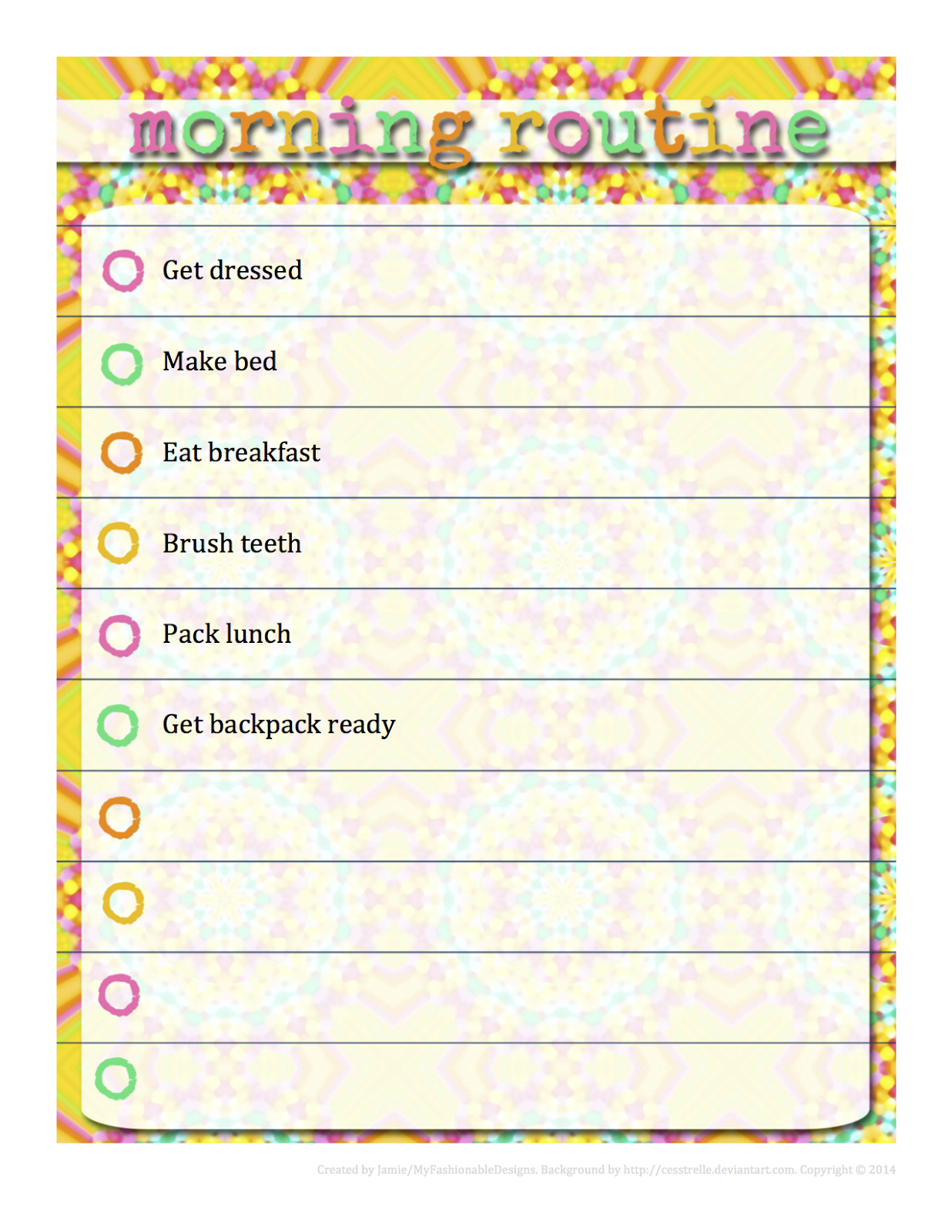 morning routine chart free download editable in word kids