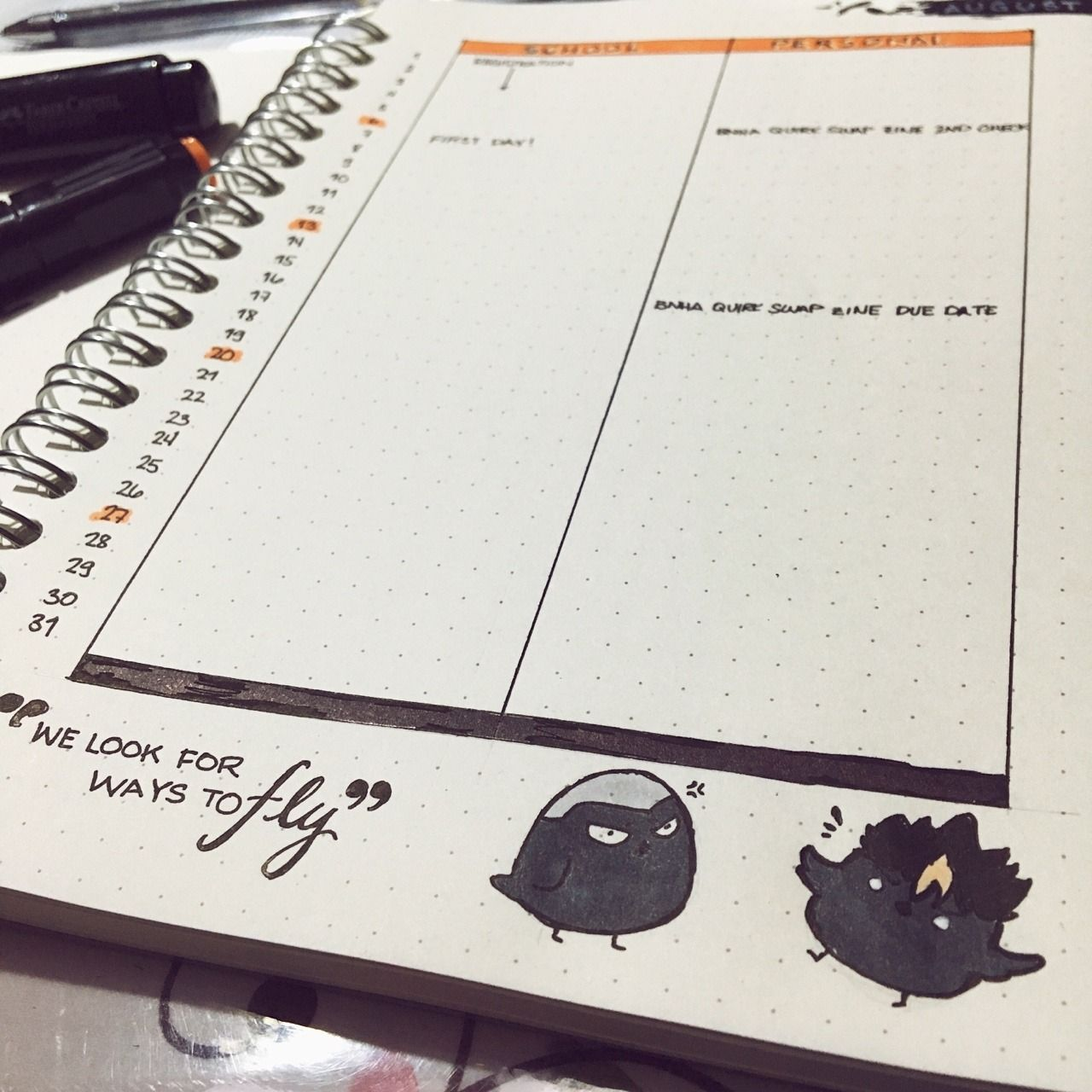 Shabbylines I Made My August Haikyuu Themed For My Journal Bullet Journal Books Bullet Journal Themes Sketchbook Journaling