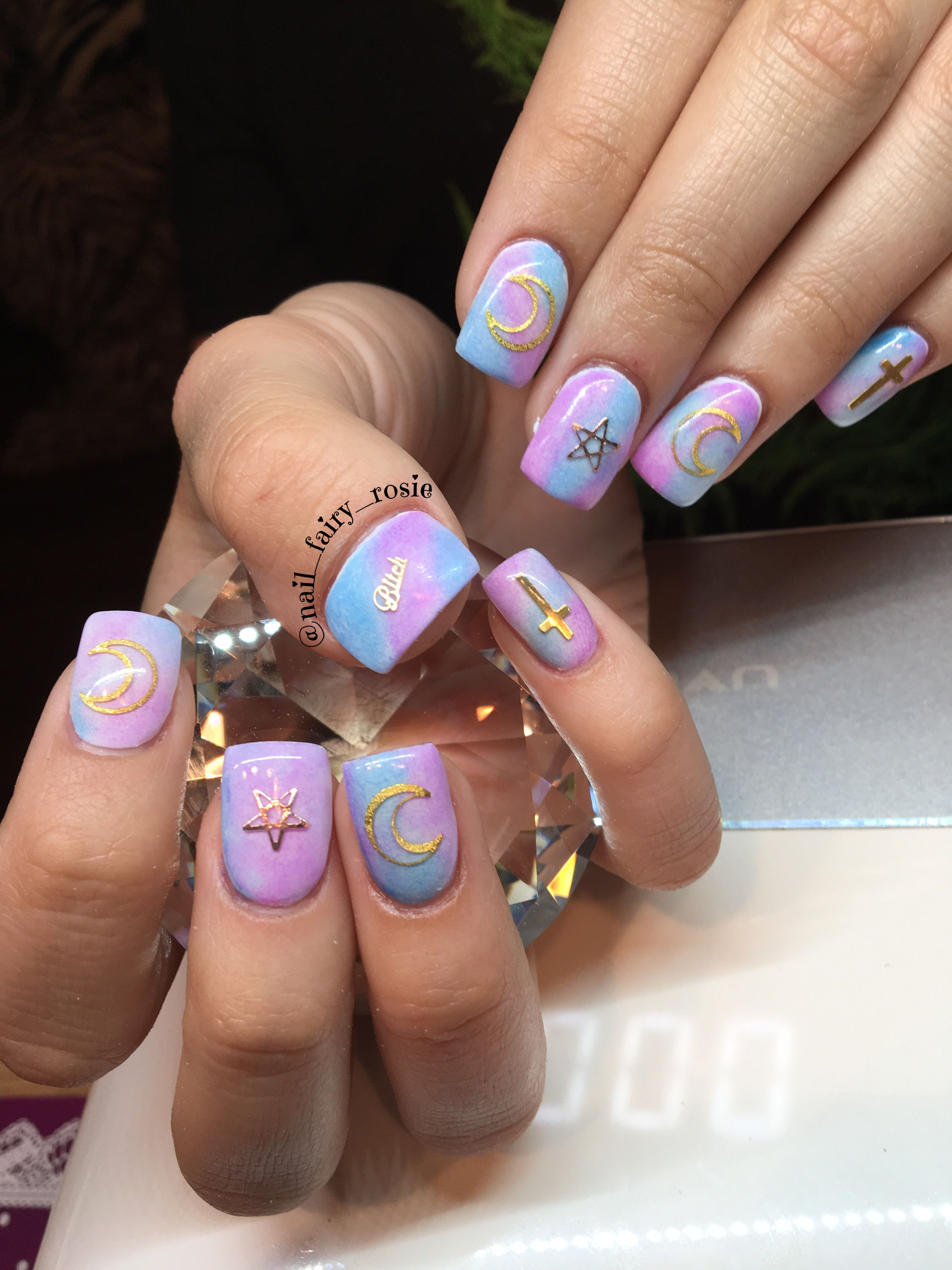 Unicorn Nails Wiccan Inspired Nails Short Gel Nail Design Glow In The Dark Nails Short Gel Nails Unicorn Nails Gel Nail Design