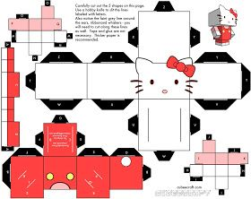 Hello Kitty Coloring Hello Kitty Paper Craft  Printables